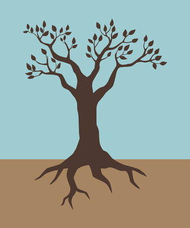 rooted: Illustration of a tree in vintage colour Illustration