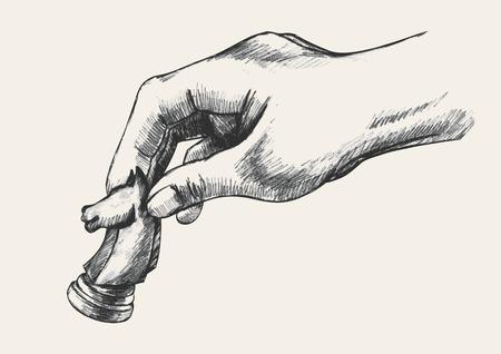 Schets illustratie van een menselijke hand die schaakridder stuk