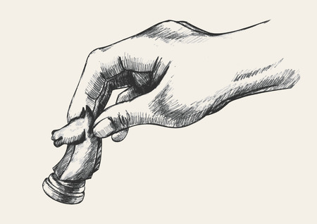 Skizze Illustration einer menschlichen Hand, die Schach-Ritter Stück