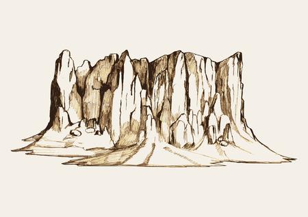 rocky: Sketch illustration of a rocky mountain