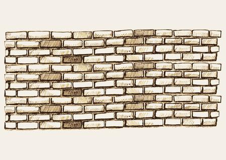 レンガの壁のスケッチ図  イラスト・ベクター素材