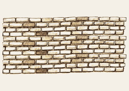 Sketch illustration of brick wall Çizim