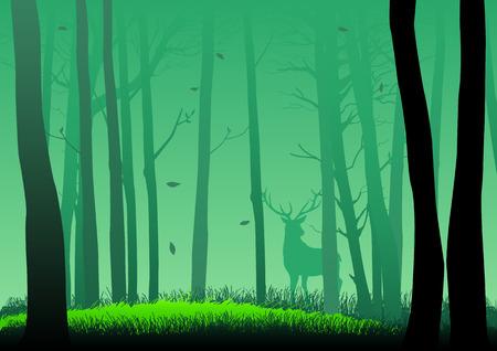 森の中のシルエット イラスト