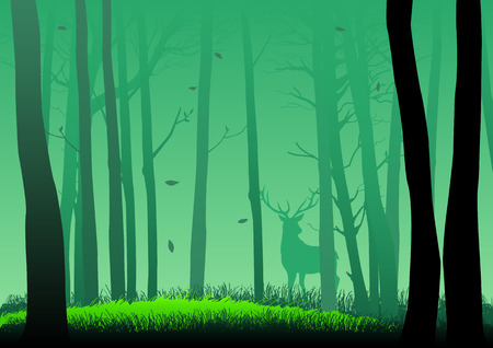 green forest: Silhouette illustration of woods
