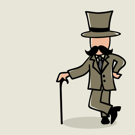 conglomerate: Doodle illustration of a man with mustache Illustration