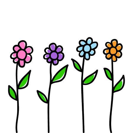 kiddies: Ilustraci�n Doodle de las flores Vectores