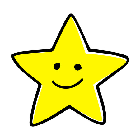 smiley face cartoon: Doodle illustration of a cartoon star Illustration