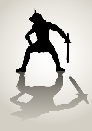 roman empire: Silhouette illustration of a gladiator in ready to fight stance Illustration