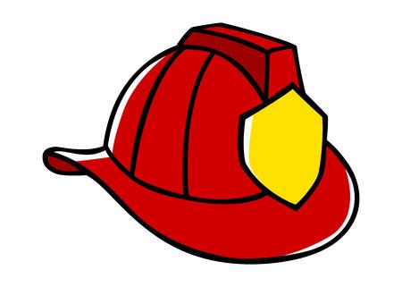 brandweer cartoon: Doodle illustratie van een brandweerman helm Stock Illustratie
