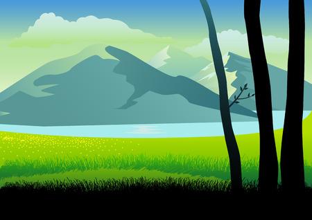 grass land: Ilustraci�n de un paisaje de monta�as y tierras de pasto Vectores
