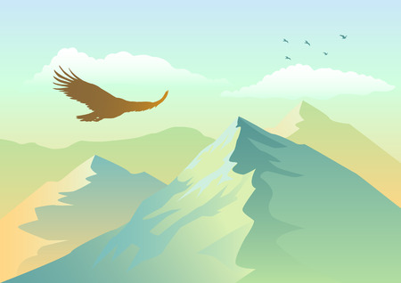 soaring: Silhouette of an eagle soaring above mountains