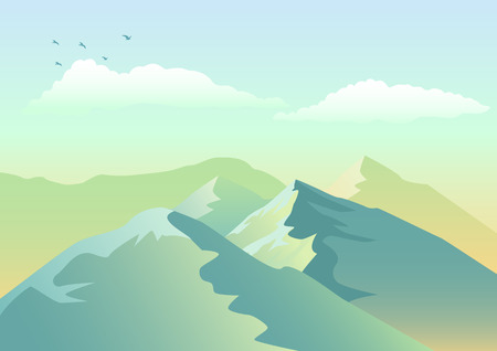 panoramic nature: Illustration of mountains