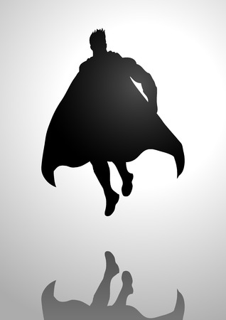 muscly: Silhouette illustration of a superhero in flying pose