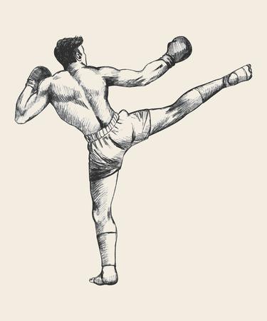 thai boxing: Sketch illustration of a kick boxer