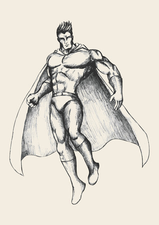 muscly: Sketch illustration of a superhero in flying pose