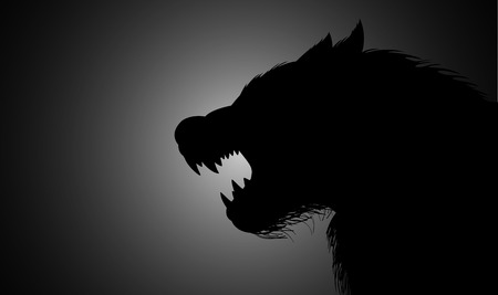 creature of fantasy: A werewolf lurking in the dark