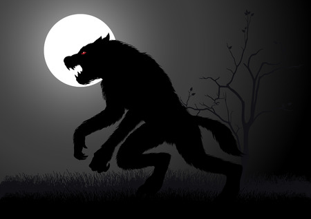 creature of fantasy: A werewolf lurking in the dark during full moon