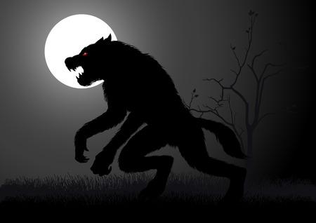 wilkołak: Wilkołak czai się w ciemności w czasie pełni księżyca Ilustracja