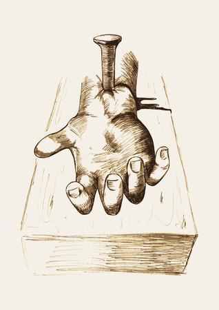 clavados: Ilustración Boceto de la mano clavada en la cruz Vectores