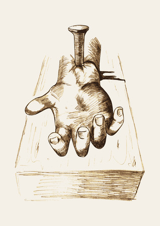 Sketch illustration of hand nailed on cross Stock Illustratie
