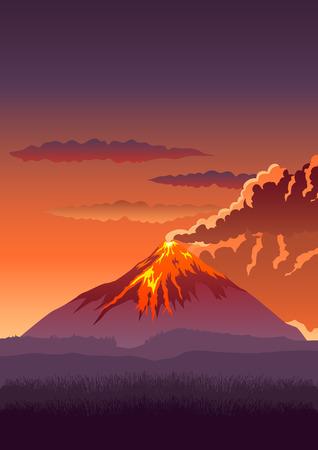spew: Vector illustration of a volcano erupting