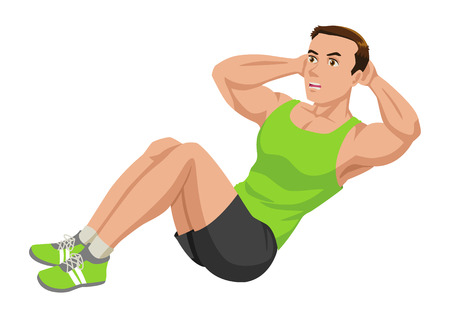 out of body: Cartoon illustration of a man doing sit up