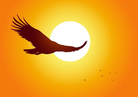 Ilustración de la silueta de un águila de alto vuelo en la puesta del sol