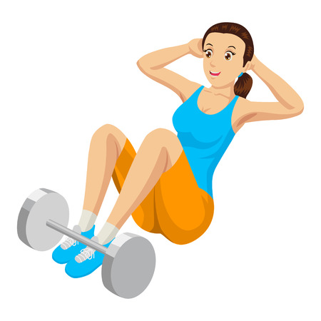 situp: Cartoon illustration of a woman doing sit up