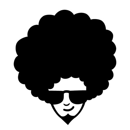 frizzy: Doodle illustration of man face with frizzy hair