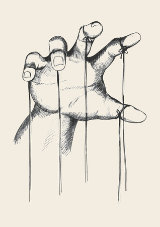 puppet theatre: Sketch illustration of puppet master hand