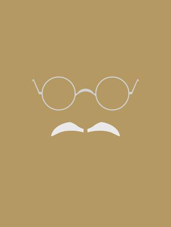 Brille und grauen Schnurrbart Symbol