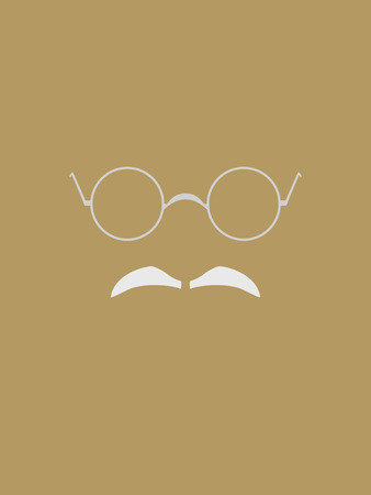 simplify: Eyeglasses and gray mustache symbol
