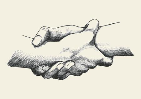 juntos: Ilustração do esboço de duas mãos que prendem-se fortemente