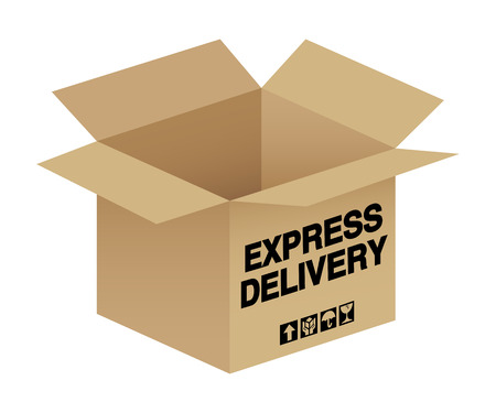 order shipment: An open box with express delivery text Illustration