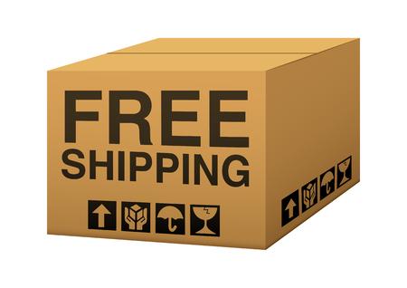 Eine Box mit kostenlosem Versand Text Illustration