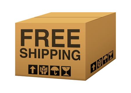 A box with free shipping text