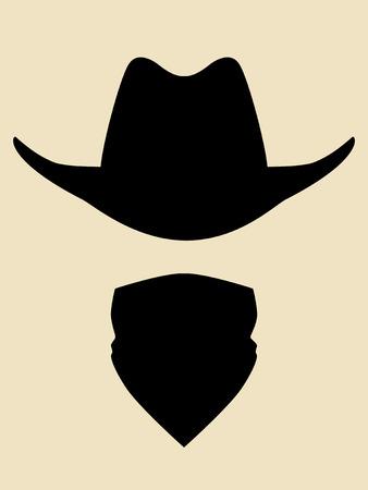 vaquero: Sombrero de vaquero y bandana símbolo cara cubierta Vectores