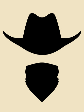 Cowboy hat and bandana covering face symbol
