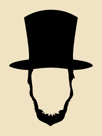century: Symbol of a man with beards wearing 19th century hat