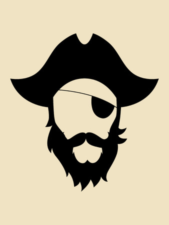 eye patch: Man with beards and mustache wearing a pirate hat symbol