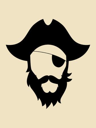 Mann mit Bart und Schnurrbart trägt einen Piratenhut Symbol Vektorgrafik