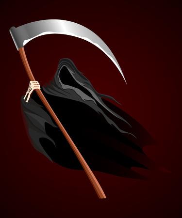 grim: Illustration of grim reaper on dark background