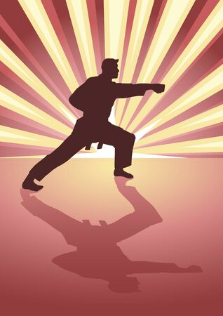 martial artist: Silhouette illustration of martial artist with light burst as the background