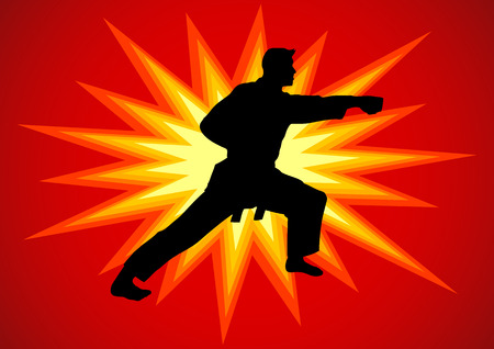 kata: Silhouette illustration of martial artist with comical light burst as the background