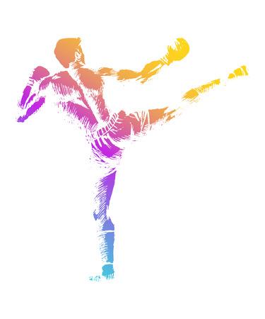 Sketch illustration of a kick boxer