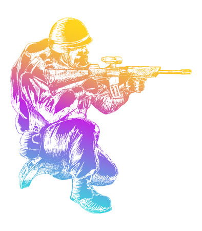 Sketch illustration of a soldier kneel down aiming a weapon Illustration
