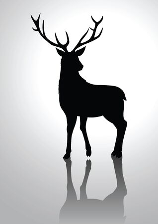 Silhouette illustration of a deer Vector