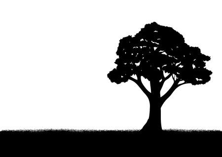 Silhouet illustratie van een boom Stock Illustratie