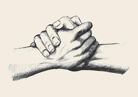 terra arrendada: Ilustração do esboço de duas mãos que prendem-se fortemente