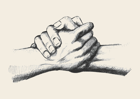 hand with pencil: Sketch illustration of two hands holding each other strongly